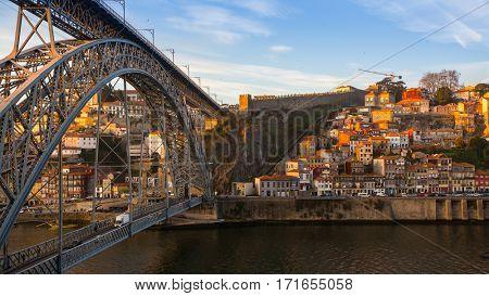 Dom Luis I bridge and Douro River, Porto, Portugal.