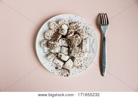 Marshmallows dusted with cocoa on white plate with fork. Sweet food top view