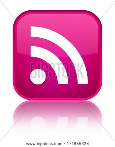 Rss Icon Shiny Pink Square Button