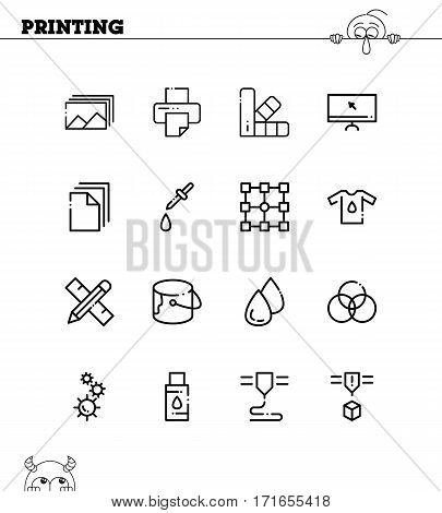 Printing flat icon set. Collection of high quality outline symbols for web design, mobile app. Printing vector thin line icons or logo.