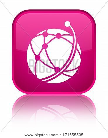 Global Network Icon Shiny Pink Square Button
