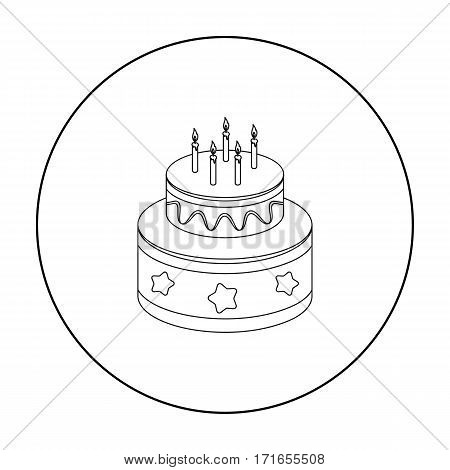 Chocolate cake with stars icon in outline design isolated on white background. Cakes symbol stock vector illustration.