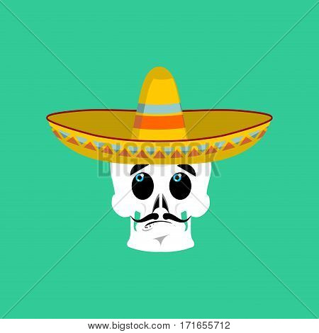 Skull In Sombrero Surprised Emoji. Mexican Skeleton For Traditional Feast Day Of The Dead.