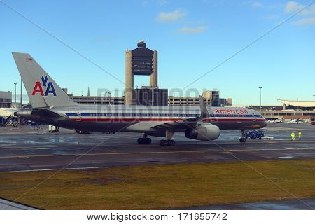 BOSTON - DEC. 25, 2014: American Airlines Boeing 757-200 at Boston Logan International Airport, Boston, Massachusetts, USA.