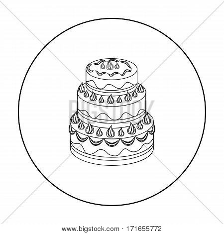 Red three-ply cake icon in outline design isolated on white background. Cakes symbol stock vector illustration.