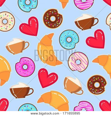 Funny vector pattern of donuts cappuccino cups croissants and red hearts on blue background