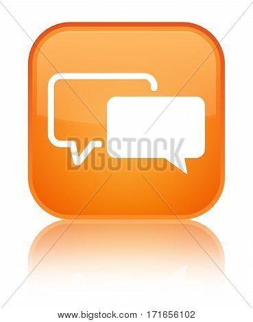 Testimonials Icon Shiny Orange Square Button