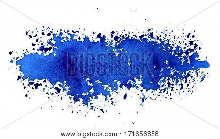 Stripe of spilt blue paint - grunge abstract background - raster illustration