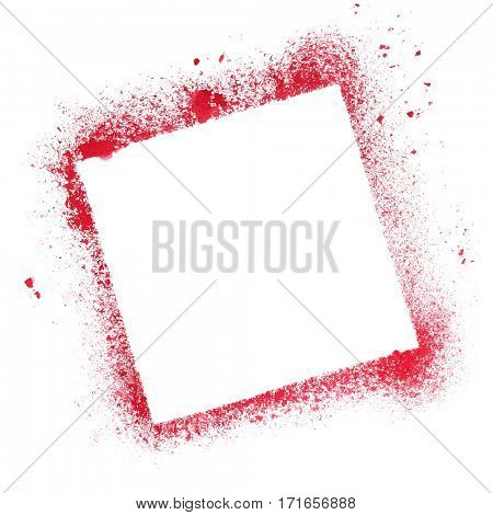 Red quare stencil frame isolated on the white background