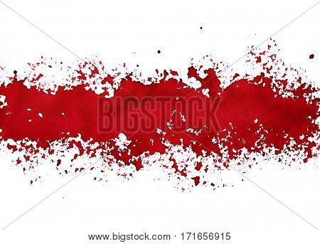Stripe of spilt red paint - grunge abstract background - raster illustration