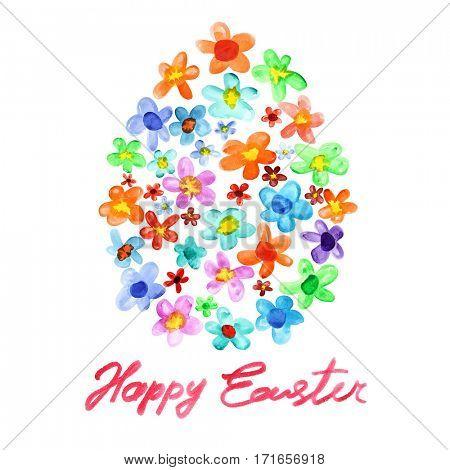 Easter Egg of watercolor flowers over white background - raster illustration