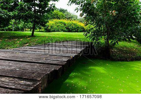 rather old wood bridge in public garden