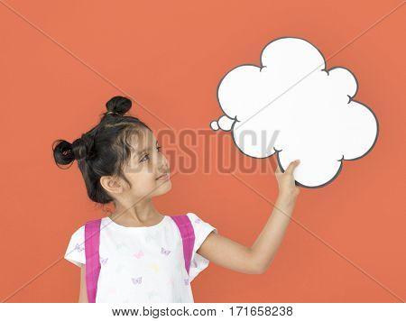 Little Girl Holding Papercraft Cloud