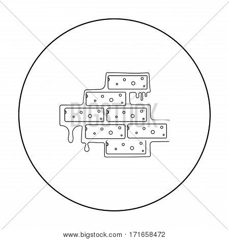 Brick wall icon in outline style isolated on white background. Build and repair symbol vector illustration.