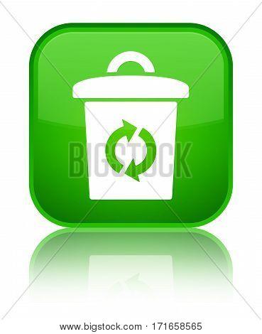 Trash Icon Shiny Green Square Button