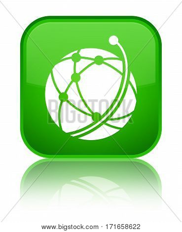 Global Network Icon Shiny Green Square Button
