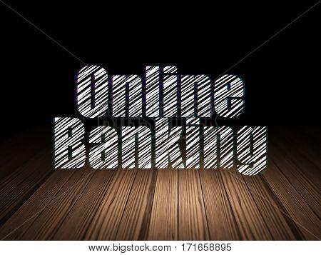 Money concept: Glowing text Online Banking in grunge dark room with Wooden Floor, black background