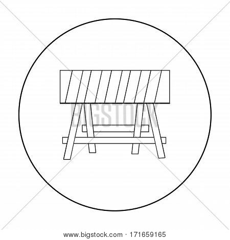 Construction barricade icon in outline style isolated on white background. Build and repair symbol vector illustration.