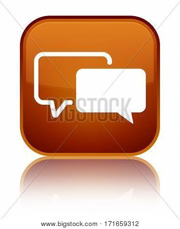 Testimonials Icon Shiny Brown Square Button