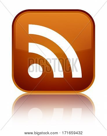 Rss Icon Shiny Brown Square Button