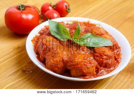 Bowl of Vegan Chickpea Meatballs with Tomato Sauce