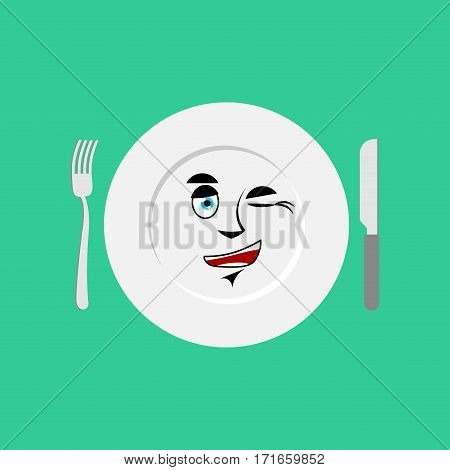 Plate Winks Emoji. Empty Dish Isolated Cheerful Emotion