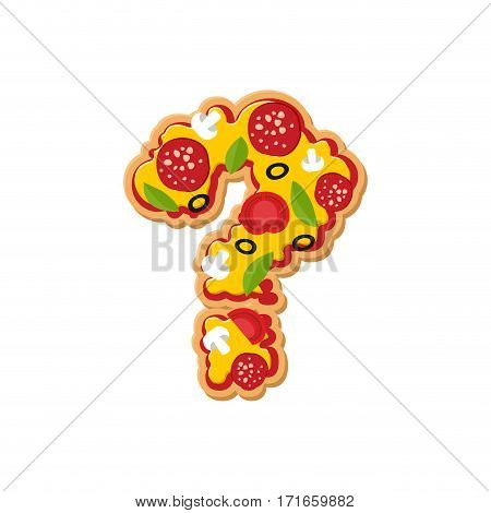 Question Mark Pizza Font. Italian Meal Alphabet. Lettring Fast Food