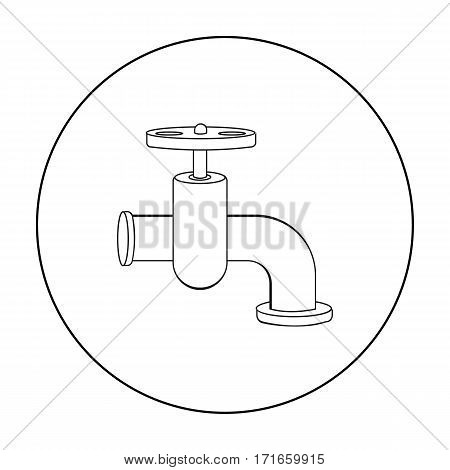 Tap icon in outline style isolated on white background. Build and repair symbol vector illustration.