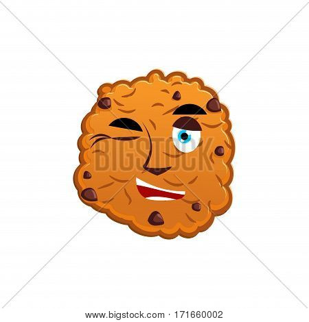Cookies Winking Emoji. Biscuit Emotion Happy. Food Isolated