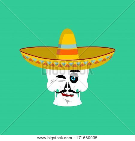 Skull In Sombrero Winking Emoji. Mexican Skeleton For Traditional Feast Day Of The Dead.
