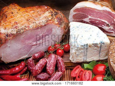 Roast Ham, Italian Ham, Cheese And Wild Boar Sausage