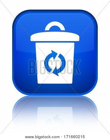 Trash Icon Shiny Blue Square Button