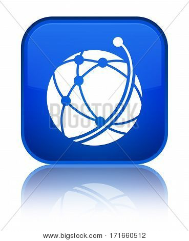 Global Network Icon Shiny Blue Square Button