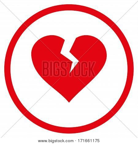 Heart Break rounded icon. Vector illustration style is flat iconic symbol inside circle red color white background.
