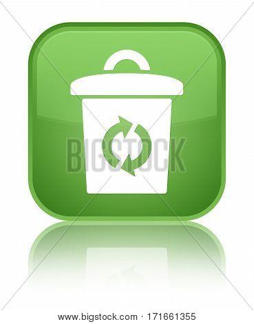Trash Icon Shiny Soft Green Square Button