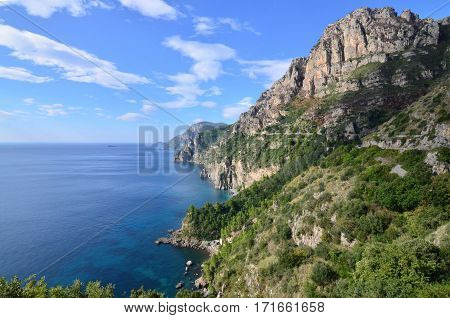 Beautiful scenic views of Italy's Amalfi Coast.