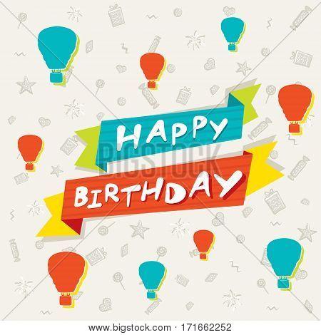 creative happy birthday greeting card design with hot air balloon