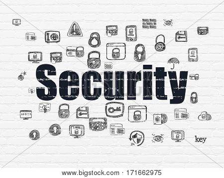 Security concept: Painted black text Security on White Brick wall background with  Hand Drawn Security Icons