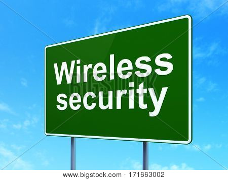 Security concept: Wireless Security on green road highway sign, clear blue sky background, 3D rendering