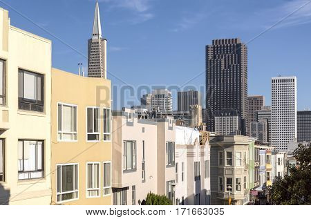 San Francisco skyline and Chinatown neighborhood real estate California.
