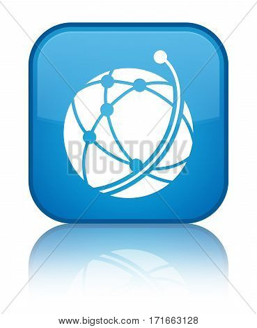 Global Network Icon Shiny Cyan Blue Square Button