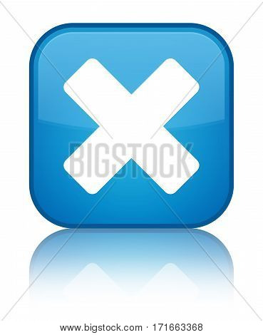 Cancel Icon Shiny Cyan Blue Square Button