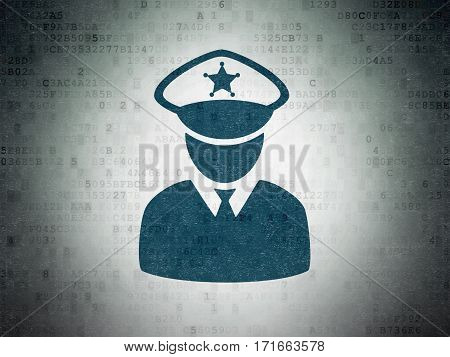 Security concept: Painted blue Police icon on Digital Data Paper background