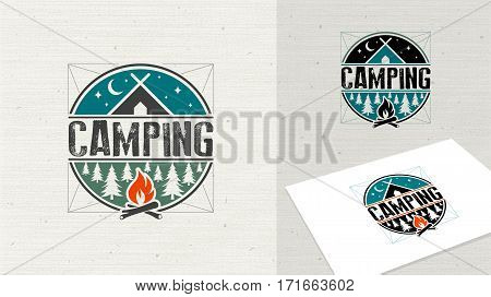 Camping logo element for emblem. Outdoor activity symbol. Tent, fire, wood,  illustration logo template easy editable for Your design.