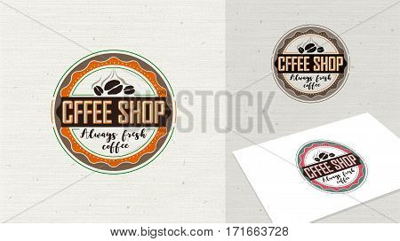 Coffee shop logo vector illustration. Coffee icon symbol, sign and emblem. Template of coffee shop logo for restaurant or bar. Vintage look coffee stamp easy editable for Your design.