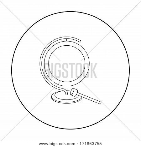 Boxing gong icon in outline style isolated on white background. Boxing symbol vector illustration.