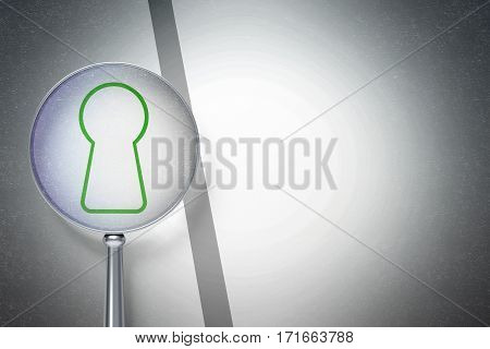 Security concept: magnifying optical glass with Keyhole icon on digital background, empty copyspace for card, text, advertising, 3D rendering