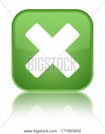 Cancel Icon Shiny Soft Green Square Button