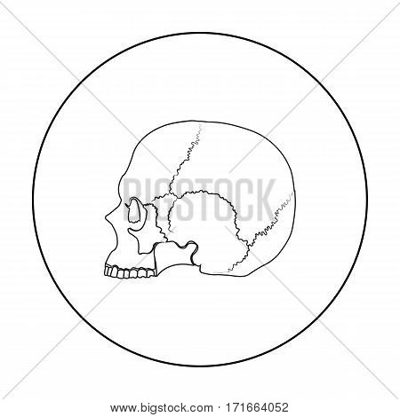 Skull icon in outline style isolated on white background. Black and white magic symbol vector illustration.
