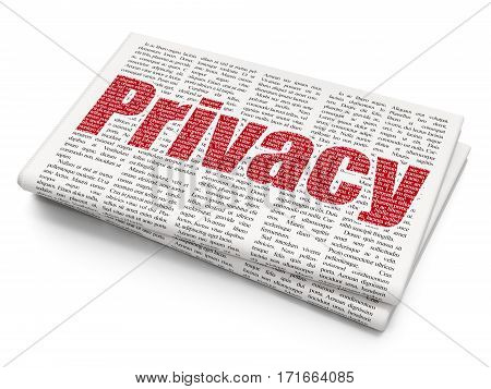 Security concept: Pixelated red text Privacy on Newspaper background, 3D rendering